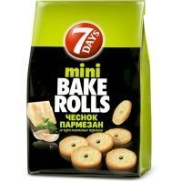 Сухарики пшеничные 7Days mini BAKE ROLLS чеснок, пармезан