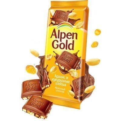 Шоколад Alpen Gold арахис, кукурузные хлопья в/у