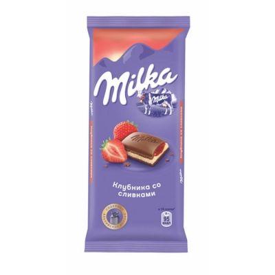 Шоколад Milka молочный с двухслойной начинкой клубника со сливками