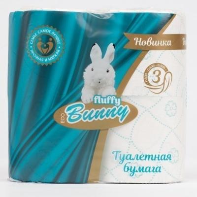 Туалетная бумага Fluffy Bunny 3 слоя 4 рулона бирюзовая