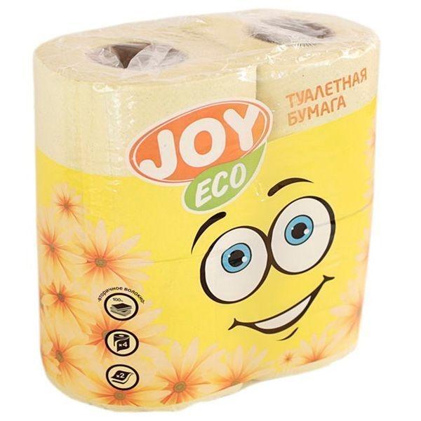 Туалетная бумага JOY Эко 2 слоя 4 рулона желтая