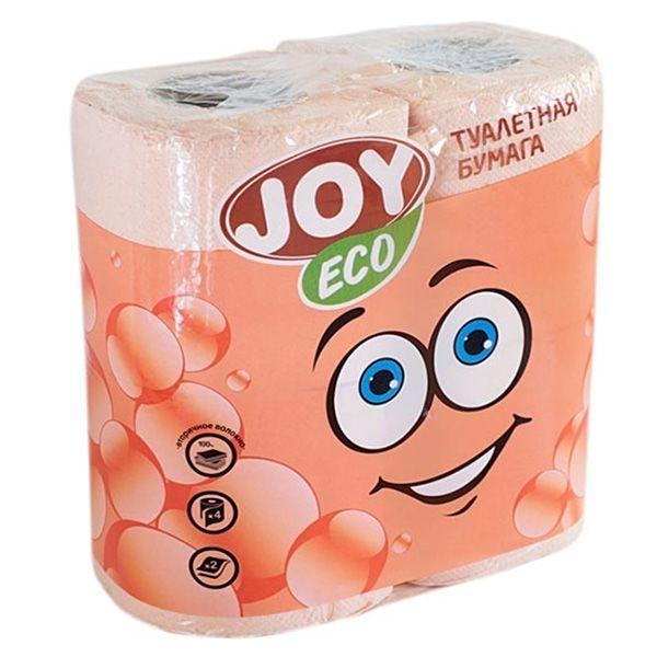 Туалетная бумага JOY Эко 2 слоя 4 рулона персиковая