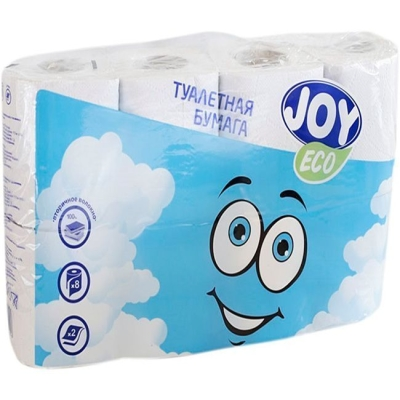 Туалетная бумага JOY Эко 2 слоя 8 рулонов белая