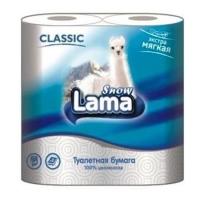 Туалетная бумага Snow Lama Classic 2 слоя 4 рулона белая