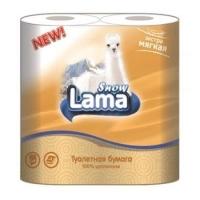 Туалетная бумага Snow Lama 2 слоя 4 рулона персиковая