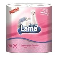 Туалетная бумага Snow Lama 2 слоя 4 рулона розовая