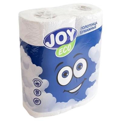 Бумажные полотенца JOY Эко 2 слоя 2 рулона белые