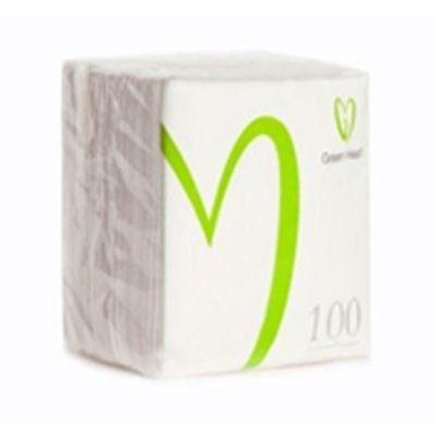 Салфетки бумажные Green Heart 1 слой 100 листов белая тиснение сплошное 24*24