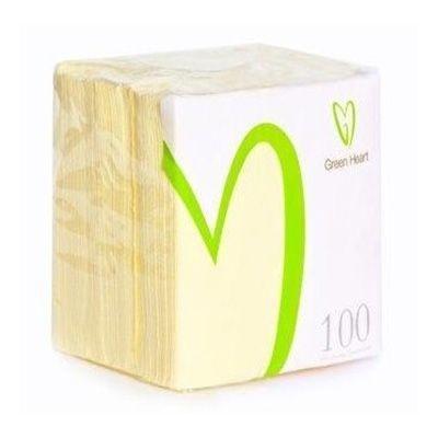 Салфетки бумажные Green Heart 1 слой 100 листов желтая тиснение сплошное 24*24
