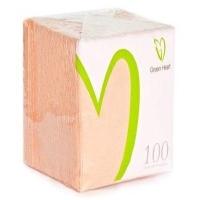 Салфетки бумажные Green Heart 1 слой 100 листов персик тиснение сплошное 24*24