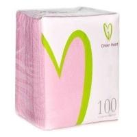 Салфетки бумажные Green Heart 1 слой 100 листов розовая тиснение сплошное 24*24