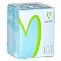 Салфетки бумажные Green Heart 1 слой 100 листов голубая тиснение сплошное 24*24