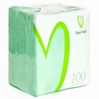 Салфетки бумажные Green Heart 1 слой 100 листов салатовая тиснение сплошное 24*24