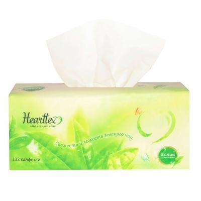 Бумажные салфетки Hearttex в мягкой упаковке 100 салфеток 3-х слойный