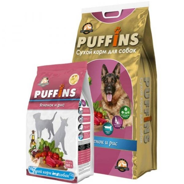 Корм сухой для собак Puffins Ягненок-Рис
