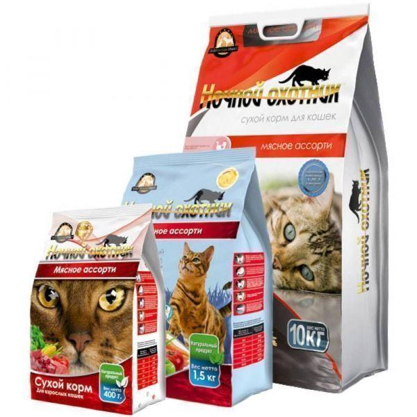 Корм сухой для кошек Ночной охотник мясное ассорти