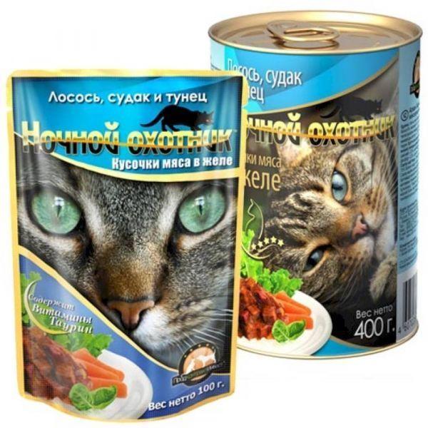 Корм для кошек Ночной охотник лосось/судак/тунец в желе