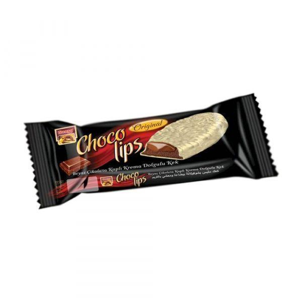 Бисквит шоколадный Saray Сhoko Lips покрытый белым шоколадом с начинкой из натурального шоколада