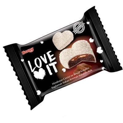 Бисквит шоколадный Saray Love It покрытый белой глазурью и кокосовой стружкой с шоколадом внутри