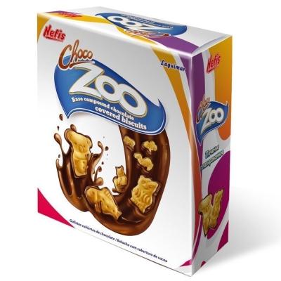 Печенье затяжное Nefis Чоко Зоо (Choco-Zoo carton box) различной формы с глазированной нижней поверхностью в картонной упаковке