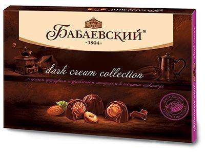 Конфеты 'Бабаевский' Dark cream Цельный фундук и дробленный миндаль