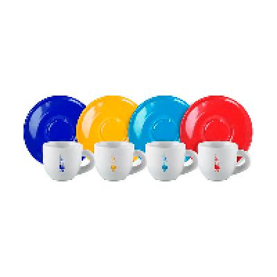 Набор Биалетти серия MOKA Цветная из 4 кофейных пар