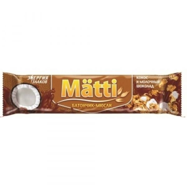 Батончики-мюсли Matti кокос и молочный шоколад