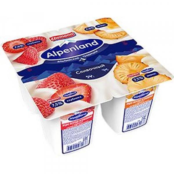 Продукт йогуртный Alpenland сливочный 7,5% Клубника/Ананас