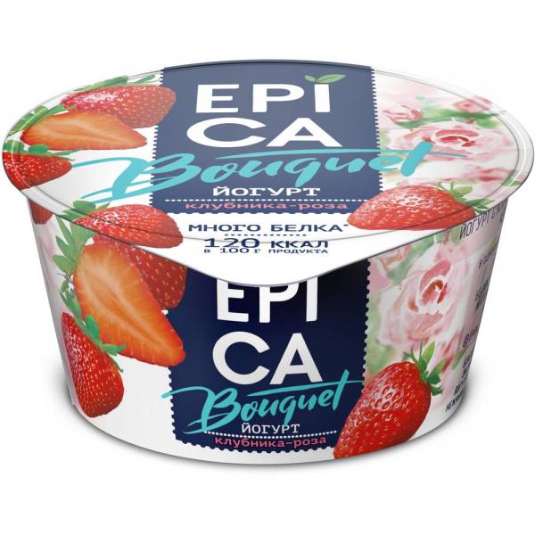 Йогурт Epica Bouquet с клубникой и розой 4,8%