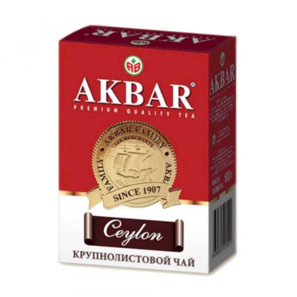 Чай Акбар черный байховый цейлонский крупнолистовой картон (красный)