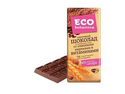 Шоколад 'Eco-botanica' молочный со злаковыми шариками и витаминами