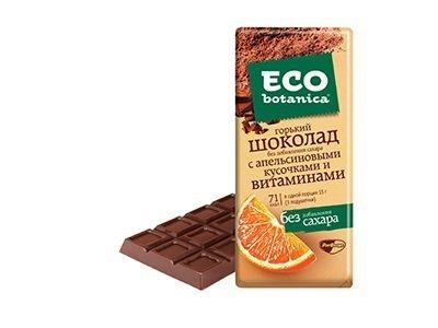 Шоколад 'Eco-botanica горький с апельсиновыми кусочками и витаминами