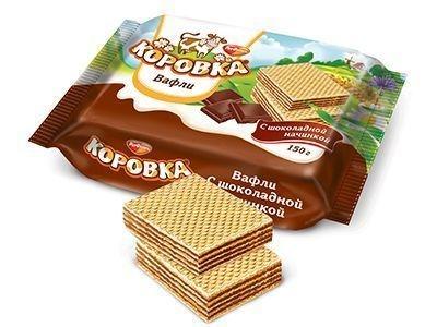 Вафли 'Коровка' c шоколадной начинкой