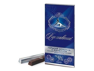 Шоколад 'Вдохновение' горький с миндалем 75% какао