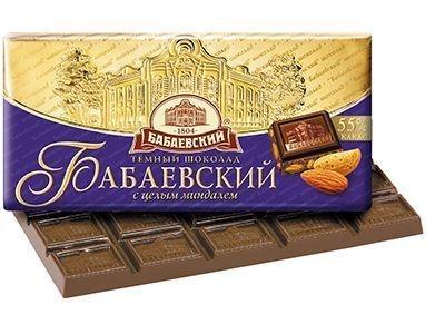 Шоколад 'Бабаевский' темный с целым миндалем
