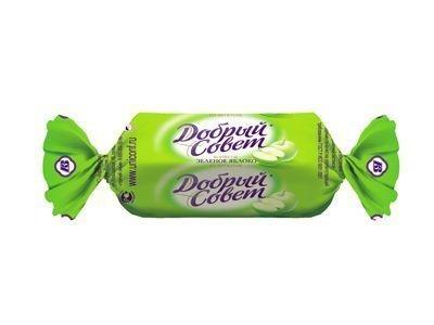 Конфеты 'Добрый совет' зеленое яблоко на фруктозе