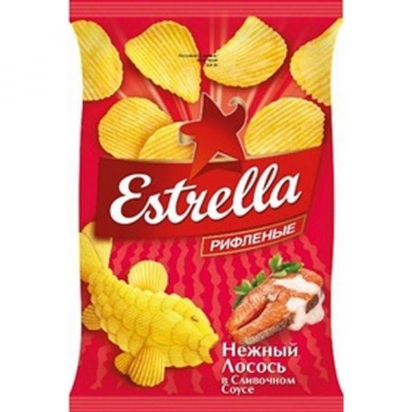 Чипсы картофельные Estrella рифленые со вкусом нежного лосося в сливочном соусе