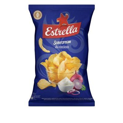 Чипсы картофельные Estrella рифленые со вкусом сметаны и лука