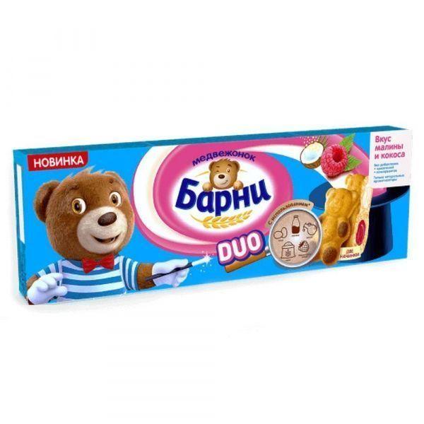 Пирожное бисквитное Медвежонок Барни Дуо с малиновой и кокосовой начинкой