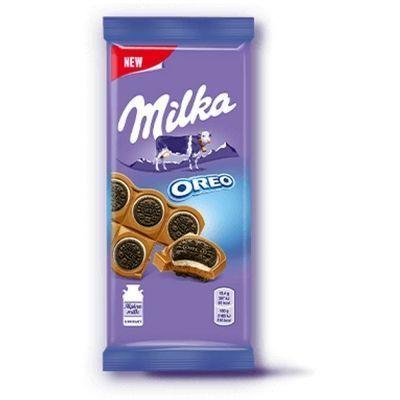 Шоколад Милка молочный с круглым печеньем Орео с начинкой со вкусом ванили
