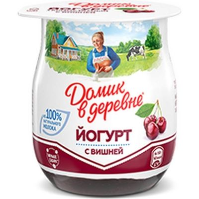 Йогурт вязкий Домик в деревне термостатный 3% вишня