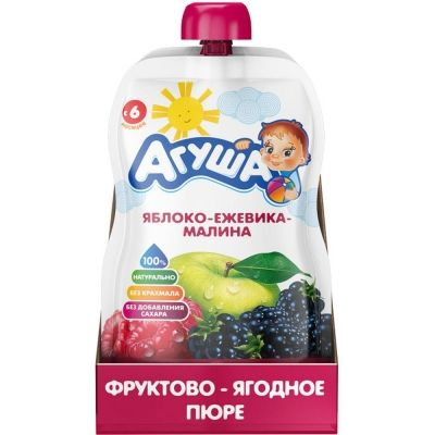 Пюре фруктовое Агуша яблоко, ежевика, малина детское питание п/п