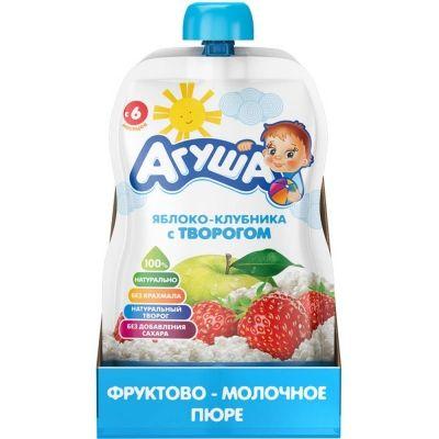 Пюре фруктовое Агуша яблоко, клубника, творог детское питание п/п