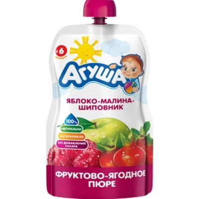 Пюре фруктовое Агуша яблоко, малина, шиповник детское питание п/п