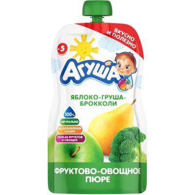 Пюре фруктово-овощное Агуша яблоко, груша, брокколи детское питание м/у