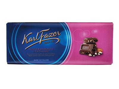 Молочный шоколад 'Karl Fazer' с фундуком и изюмом