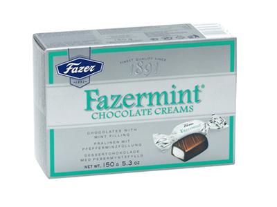 Шоколадные  конфеты 'Fazermint' с  мятной начинкой