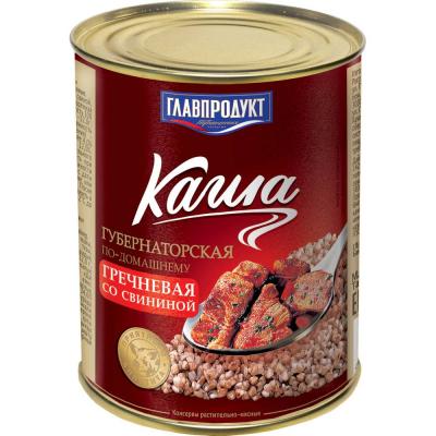 Каша Губернаторская Главпродукт гречневая со свининой по-домашнему №9 ж/б