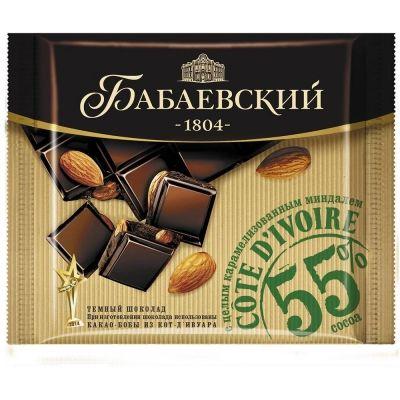 Шоколад Бабаевский темный Cote d'Ivoire с карамелизованным миндалем