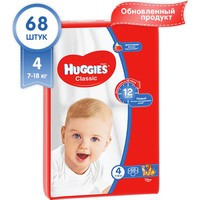 Подгузники Huggies Классик (4) 7-18кг 68шт